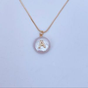 Mother of Pearl initial A necklace gold chain